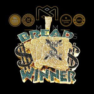 Extra Large High-Quality 14k Gold Plated Iced Bread Winner Money Cash Pendant